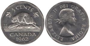 カナダ5セント硬貨