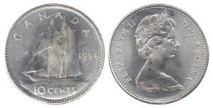 カナダ10セント硬貨