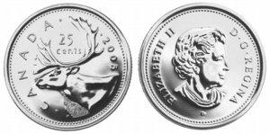 カナダ25セント硬貨